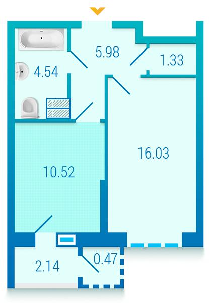 ЖК Вишиванка: планування 1-кімнатної квартири 41.01 м2, тип 1.3