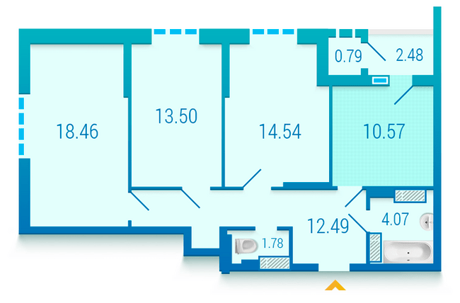 ЖК Вышиванка: планировка 3-комнатной квартиры 78.68 м2, тип 3.1