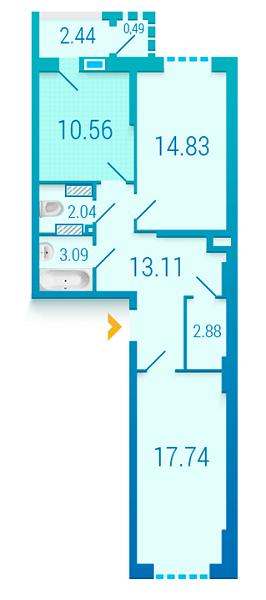 ЖК Вишиванка: планування 2-кімнатної квартири 67.18 м2, тип 2.4