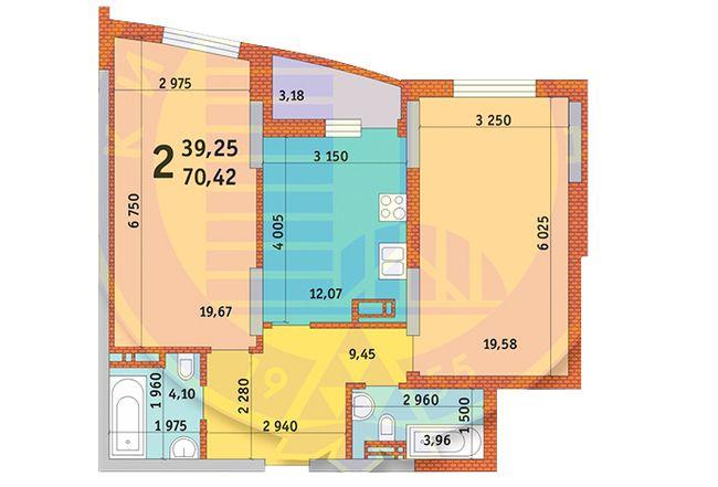 вул. Горлівська, 215а, 215б, 215в: планування 2-кімнатної квартири 70.42 м2, тип 2е