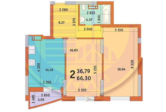 вул. Горлівська, 215а, 215б, 215в: планування 2-кімнатної квартири 66.3 м2, тип 2д
