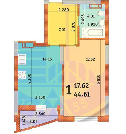 вул. Горлівська, 215а, 215б, 215в: планування 1-кімнатної квартири 44.61 м2, тип 1и