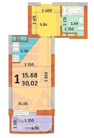 вул. Горлівська, 215а, 215б, 215в: планування 1-кімнатної квартири 30.02 м2, тип 1л