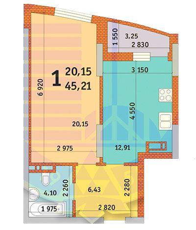 вул. Горлівська, 215а, 215б, 215в: планування 1-кімнатної квартири 45.21 м2, тип 1п