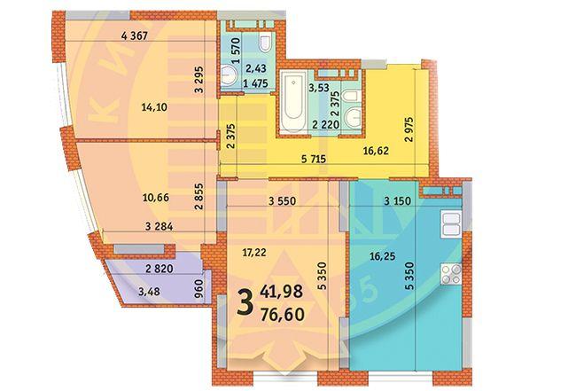 вул. Горлівська, 215а, 215б, 215в: планування 3-кімнатної квартири 76.6 м2, тип 3а