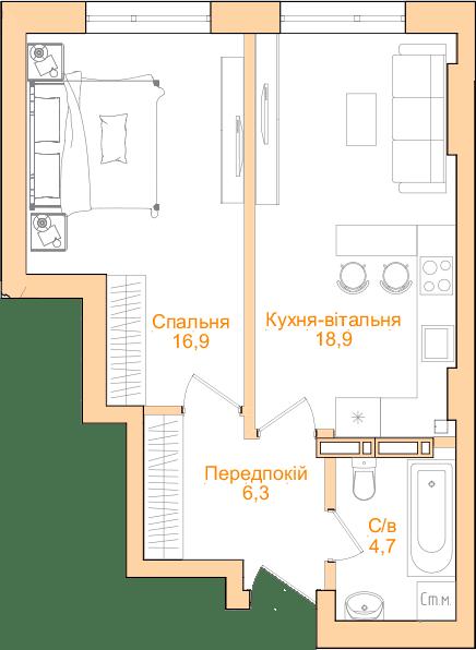 ЖК Новопечерський Квартал №5: планування 1-кімнатної квартири 46.83 м2, тип 1-46.83