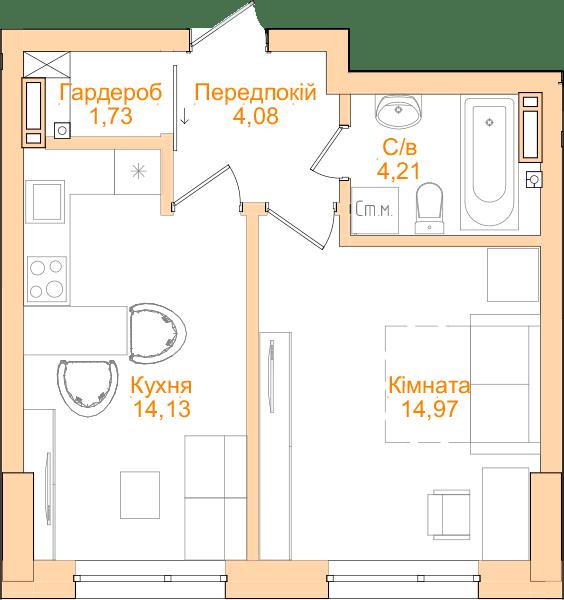 ЖК Новопечерський Квартал №5: планування 1-кімнатної квартири 39.12 м2, тип 1-39.12