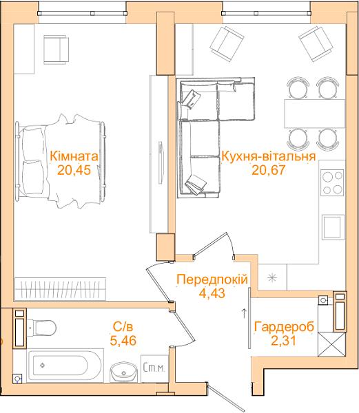 ЖК Новопечерський Квартал №5: планування 1-кімнатної квартири 53.32 м2, тип 1-53.32