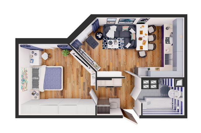Жилой дом №1: планування 1-кімнатної квартири 50.4 м2, тип С4-02