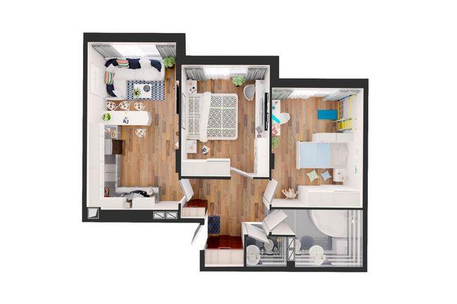 Жилой дом №1: планировка 2-комнатной квартиры 68 м2, тип С4-03