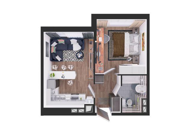 Жилой дом №1: планування 1-кімнатної квартири 37.6 м2, тип С5-04