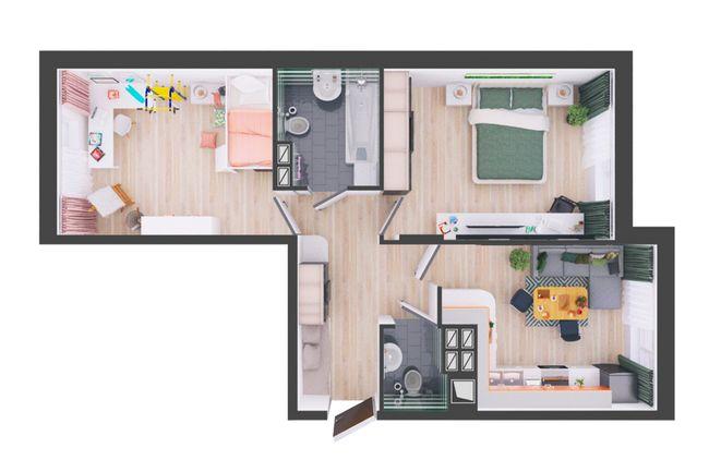 Жилой дом №1: планировка 2-комнатной квартиры 60.1 м2, тип С5-05