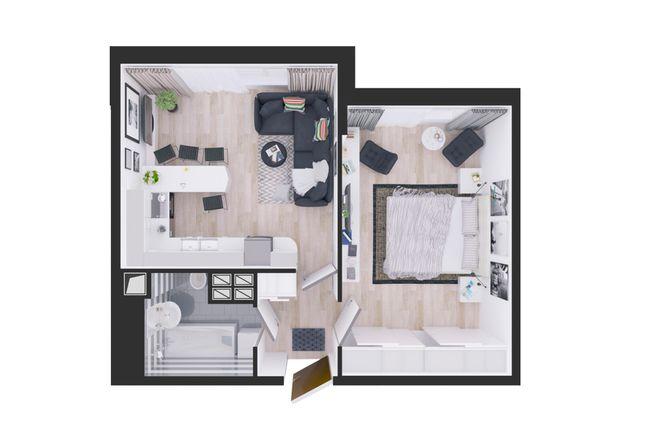 Жилой дом №1: планування 1-кімнатної квартири 44.9 м2, тип С5-06