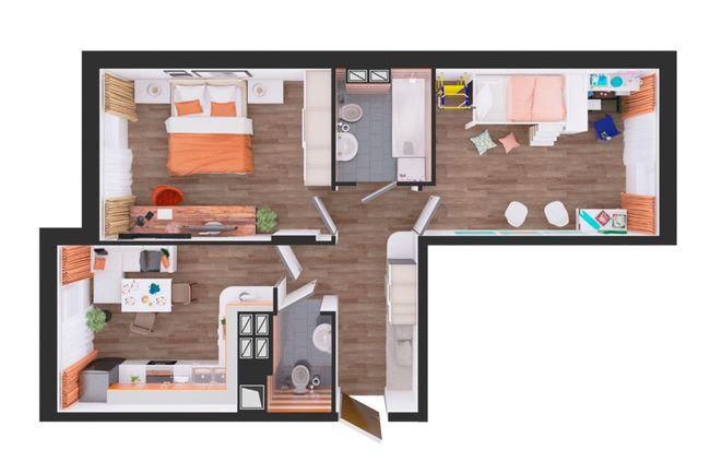 Жилой дом №1: планировка 2-комнатной квартиры 59.9 м2, тип С5-02