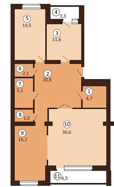 ЖК Borispol DeLuxe: планування 3-кімнатної квартири 115.35 м2, тип 3-115.35