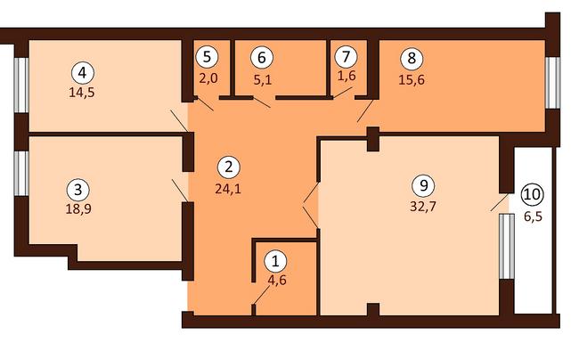 ЖК Borispol DeLuxe: планування 3-кімнатної квартири 122.35 м2, тип 3-122.35