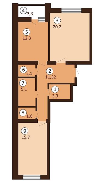 ЖК Borispol DeLuxe: планування 2-кімнатної квартири 73.25 м2, тип 2-73.25