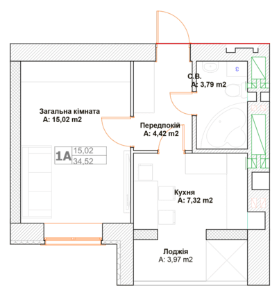 ЖК Фортуна-2: планировка 1-комнатной квартиры 34.52 м2, тип 1А