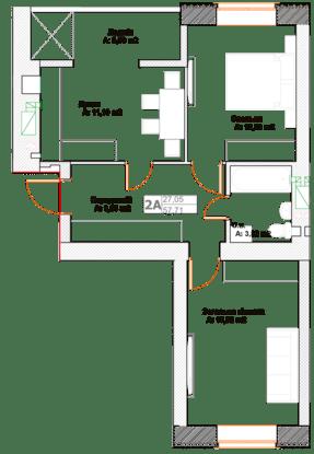 ЖК Фортуна-2: планировка 2-комнатной квартиры 57.71 м2, тип 2А