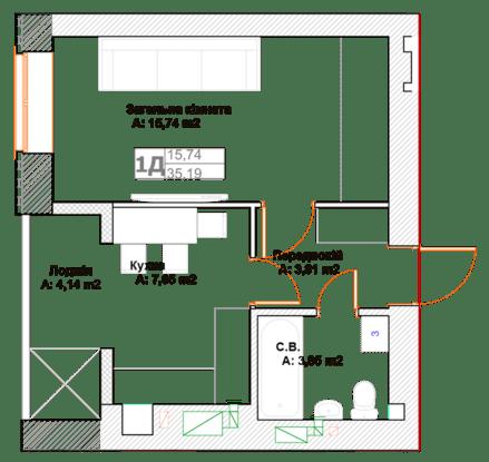 ЖК Фортуна-2: планировка 1-комнатной квартиры 35.19 м2, тип 1Д