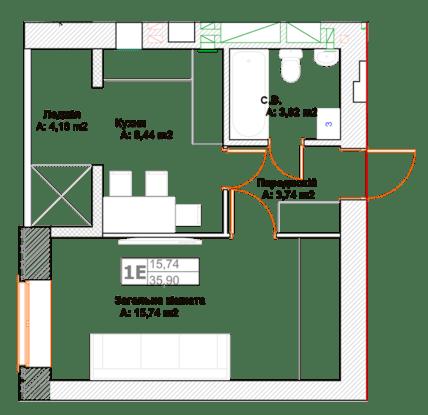ЖК Фортуна-2: планировка 1-комнатной квартиры 35.9 м2, тип 1Е