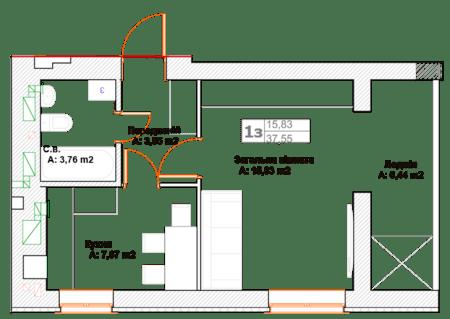 ЖК Фортуна-2: планировка 1-комнатной квартиры 37.55 м2, тип 1З