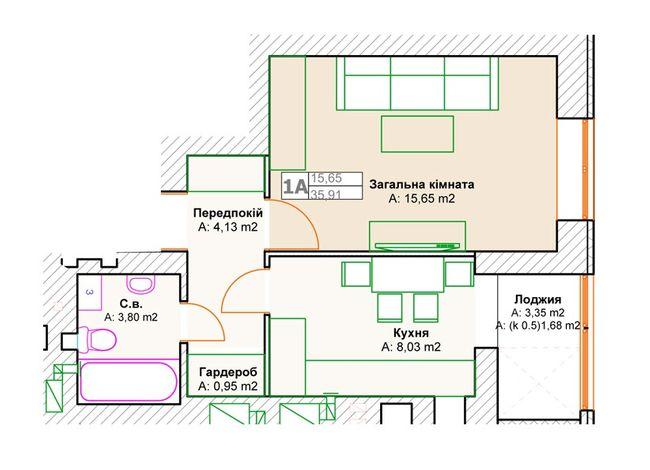 ЖК Фортуна-2: планировка 1-комнатной квартиры 35.91 м2, тип 1А