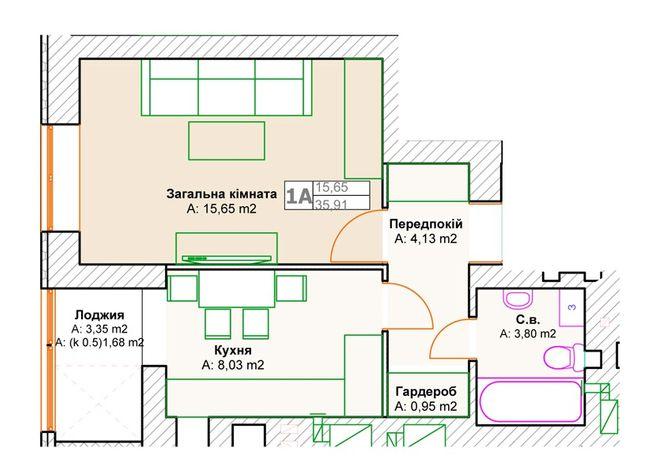 ЖК Фортуна-2: планировка 1-комнатной квартиры 35.91 м2, тип 1А(з)
