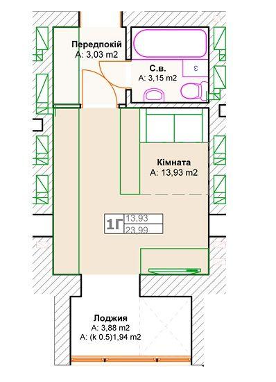 ЖК Фортуна-2: планировка 1-комнатной квартиры 23.99 м2, тип 1Г