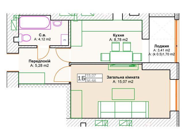ЖК Фортуна-2: планировка 1-комнатной квартиры 36.66 м2, тип 1б
