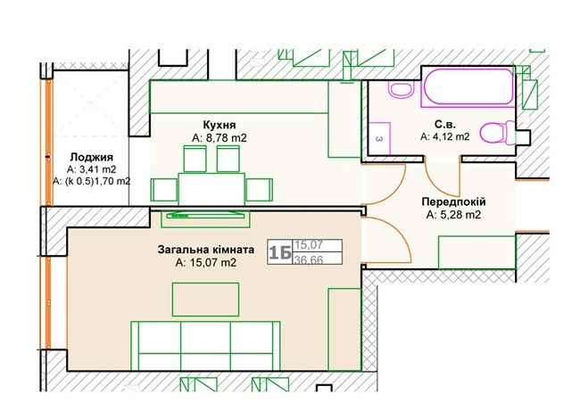 ЖК Фортуна-2: планировка 1-комнатной квартиры 36.66 м2, тип 1б(3)
