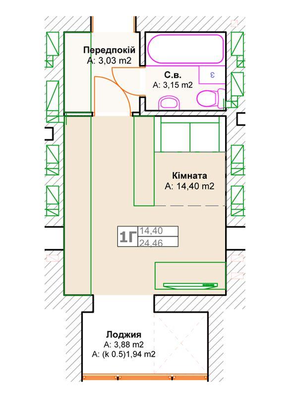 ЖК Фортуна-2: планировка 1-комнатной квартиры 24.46 м2, тип 1г