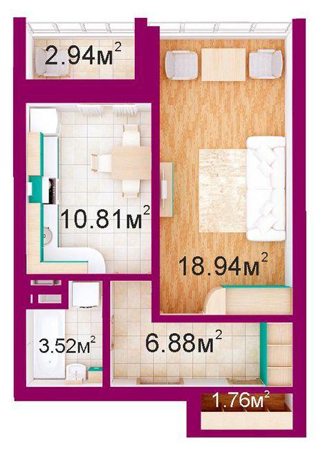 ЖД Панорамный: планировка 1-комнатной квартиры 44.8 м2, тип 1-В/1