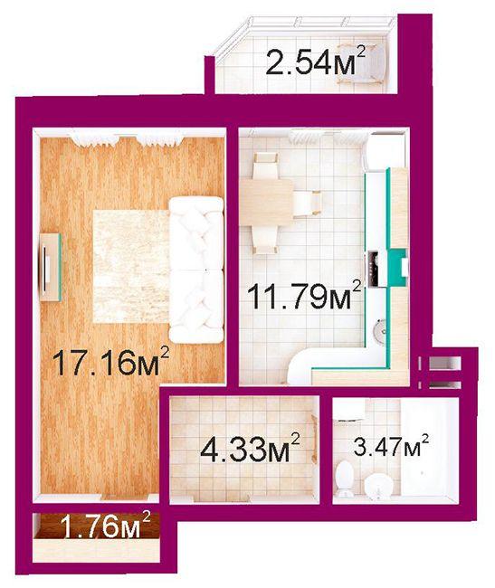 ЖД Панорамный: планировка 1-комнатной квартиры 41.1 м2, тип 1-Г