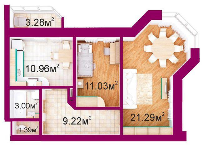 ЖБ Панорамний: планування 2-кімнатної квартири 60.2 м2, тип 2-В/1