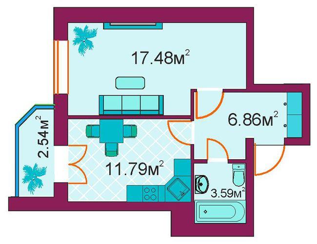 ЖД Панорамный: планировка 1-комнатной квартиры 42.3 м2, тип 1-А/1