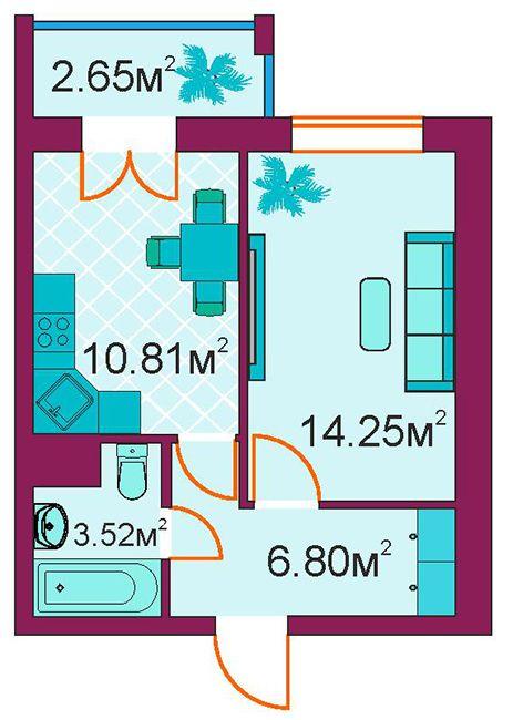 ЖД Панорамный: планировка 1-комнатной квартиры 38 м2, тип 1-Е/1