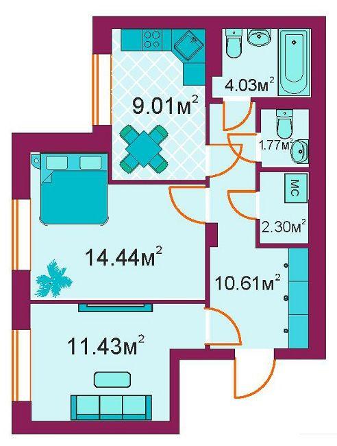 ЖБ Панорамний: планування 2-кімнатної квартири 53.6 м2, тип 2-А/1