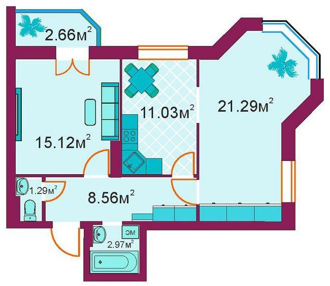 ЖД Панорамный: планировка 2-комнатной квартиры 62.9 м2, тип 2-Б/1