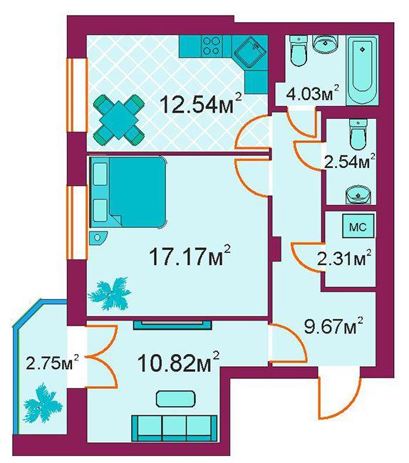 ЖБ Панорамний: планування 2-кімнатної квартири 61.8 м2, тип 2-Г/1