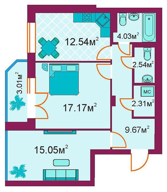 ЖД Панорамный: планировка 2-комнатной квартиры 66.3 м2, тип 2-Д/1