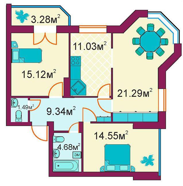 ЖД Панорамный: планировка 3-комнатной квартиры 81.1 м2, тип 3-А/1