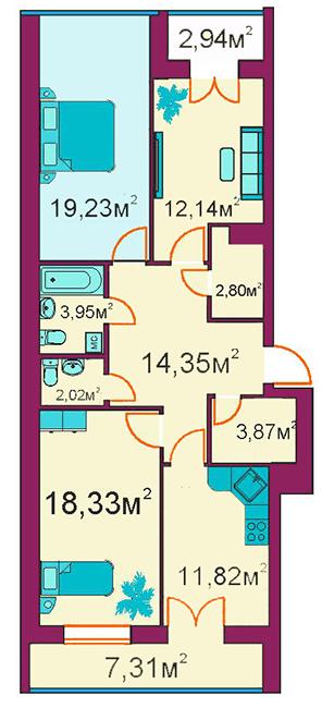 ЖД Панорамный: планировка 3-комнатной квартиры 89.2 м2, тип 3-Д/1