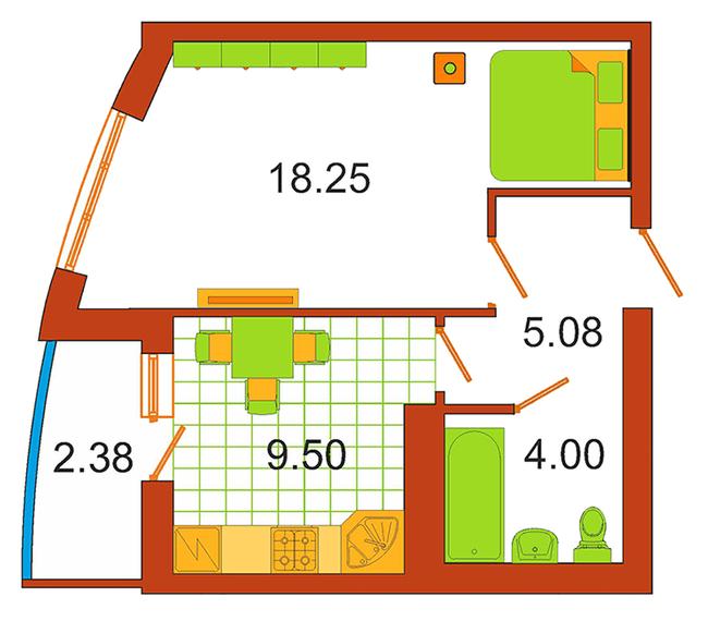 ЖК Сяйво: планування 1-кімнатної квартири 38 м2, тип 1-38.0