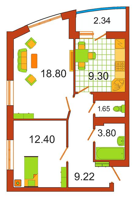 ЖК Сяйво: планування 2-кімнатної квартири 56.34 м2, тип 2-56.34