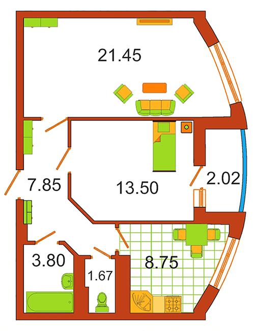 ЖК Сяйво: планування 2-кімнатної квартири 58.03 м2, тип 2-58.03