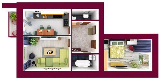 ЖК Forest Land: планировка 2-комнатной квартиры 62.73 м2, тип Блюмбери_1