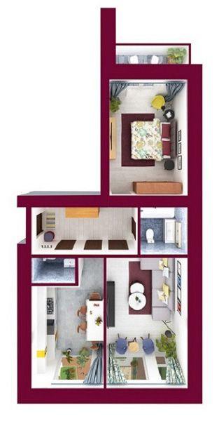ЖК Forest Land: планировка 2-комнатной квартиры 65.35 м2, тип Челси_1