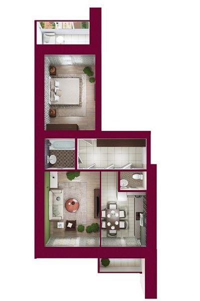 ЖК Forest Land: планировка 2-комнатной квартиры 64.5 м2, тип Кембридж*