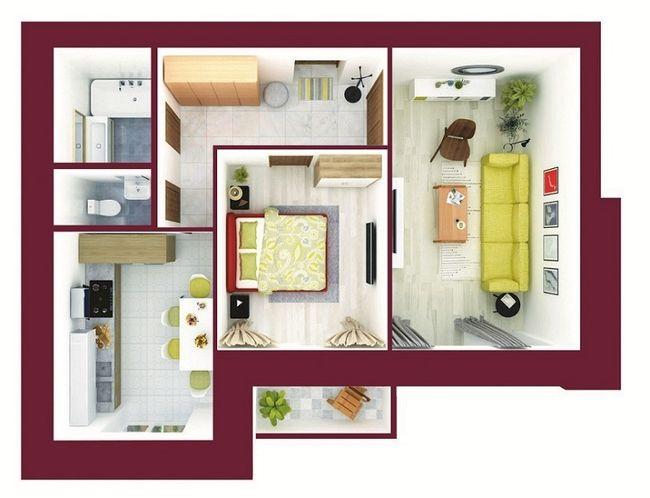 ЖК Forest Land: планировка 2-комнатной квартиры 59.75 м2, тип Тоттенхем*